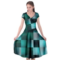 Background Squares Metal Green Cap Sleeve Wrap Front Dress