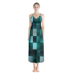 Background Squares Metal Green Button Up Chiffon Maxi Dress