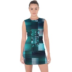 Background Squares Metal Green Lace Up Front Bodycon Dress