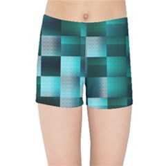 Background Squares Metal Green Kids Sports Shorts