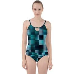 Background Squares Metal Green Cut Out Top Tankini Set