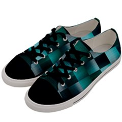 Background Squares Metal Green Men s Low Top Canvas Sneakers by Nexatart