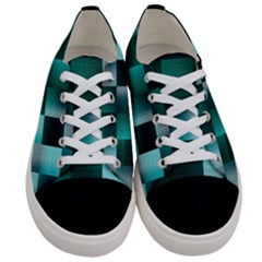 Background Squares Metal Green Women s Low Top Canvas Sneakers