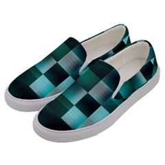 Background Squares Metal Green Men s Canvas Slip Ons by Nexatart