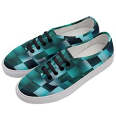 Background Squares Metal Green Women s Classic Low Top Sneakers by Nexatart