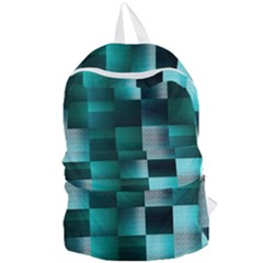 Background Squares Metal Green Foldable Lightweight Backpack by Nexatart