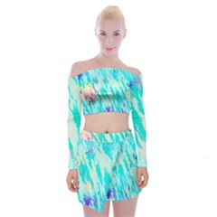 Blue Background Art Abstract Watercolor Off Shoulder Top With Mini Skirt Set