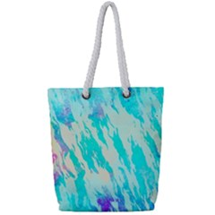 Blue Background Art Abstract Watercolor Full Print Rope Handle Tote (small) by Nexatart