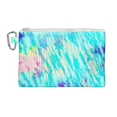 Blue Background Art Abstract Watercolor Canvas Cosmetic Bag (large) by Nexatart