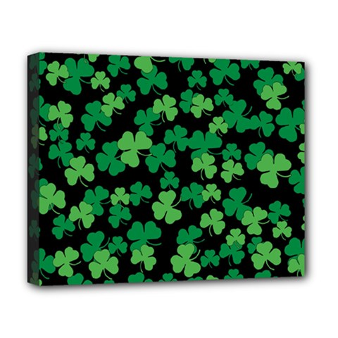St  Patricks Day Clover Pattern Deluxe Canvas 20  X 16