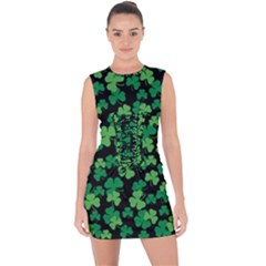 St  Patricks Day Clover Pattern Lace Up Front Bodycon Dress
