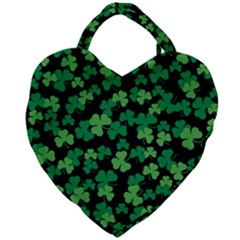 St  Patricks Day Clover Pattern Giant Heart Shaped Tote