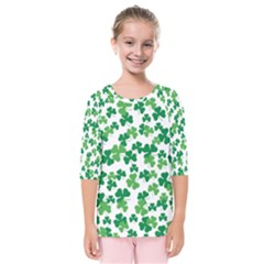 St  Patricks Day Clover Pattern Kids  Quarter Sleeve Raglan Tee
