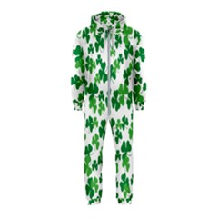 St  Patricks Day Clover Pattern Hooded Jumpsuit (kids)