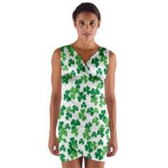 St  Patricks Day Clover Pattern Wrap Front Bodycon Dress