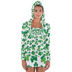 St  Patricks Day Clover Pattern Long Sleeve Hooded T-shirt by Valentinaart