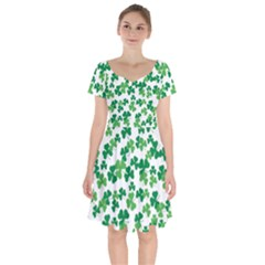 St  Patricks Day Clover Pattern Short Sleeve Bardot Dress by Valentinaart