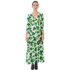 St  Patricks Day Clover Pattern Button Up Boho Maxi Dress by Valentinaart