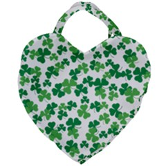 St  Patricks Day Clover Pattern Giant Heart Shaped Tote by Valentinaart