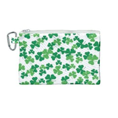St  Patricks Day Clover Pattern Canvas Cosmetic Bag (medium) by Valentinaart