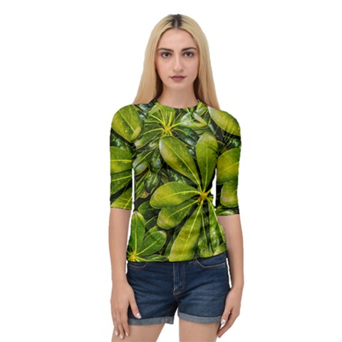 Top View Leaves Quarter Sleeve Raglan Tee by dflcprints