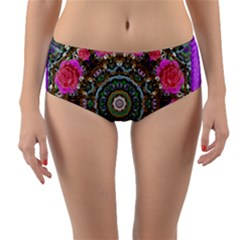 Roses In A Color Cascade Of Freedom And Peace Reversible Mid-waist Bikini Bottoms by pepitasart