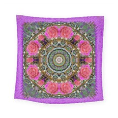 Roses In A Color Cascade Of Freedom And Peace Square Tapestry (small) by pepitasart