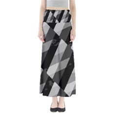 Black And White Grunge Striped Pattern Full Length Maxi Skirt by dflcprints