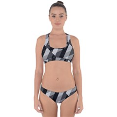 Black And White Grunge Striped Pattern Cross Back Hipster Bikini Set by dflcprints
