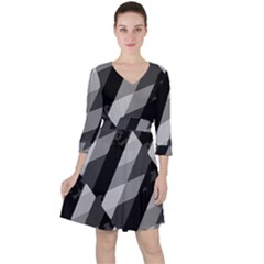 Black And White Grunge Striped Pattern Ruffle Dress
