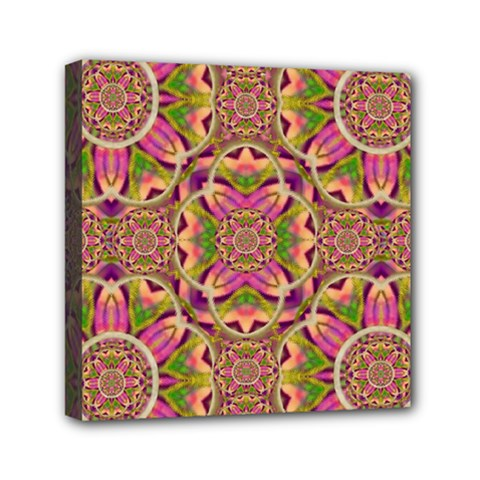 Jungle Flowers In Paradise  Lovely Chic Colors Mini Canvas 6  X 6  by pepitasart