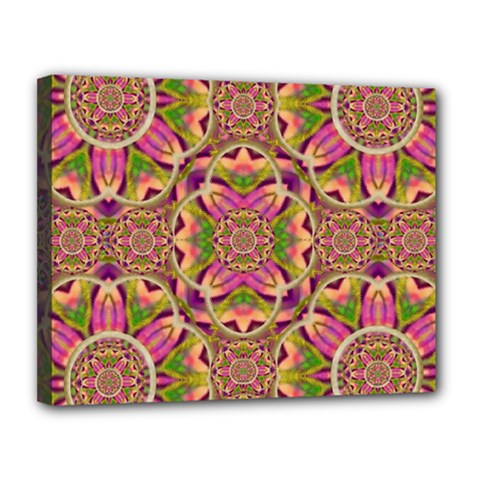 Jungle Flowers In Paradise  Lovely Chic Colors Canvas 14  X 11  by pepitasart