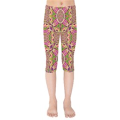 Jungle Flowers In Paradise  Lovely Chic Colors Kids  Capri Leggings  by pepitasart