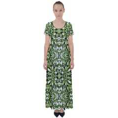 Stylized Nature Print Pattern High Waist Short Sleeve Maxi Dress by dflcprints
