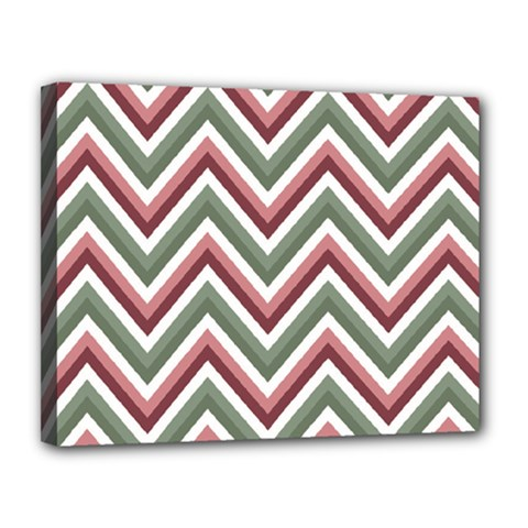 Chevron Blue Pink Canvas 14  X 11  by snowwhitegirl
