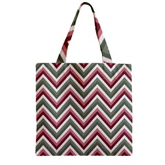 Chevron Blue Pink Zipper Grocery Tote Bag by snowwhitegirl