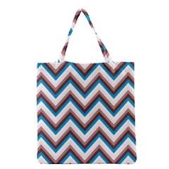 Zigzag Chevron Pattern Blue Magenta Grocery Tote Bag by snowwhitegirl