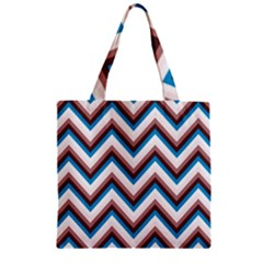 Zigzag Chevron Pattern Blue Magenta Zipper Grocery Tote Bag by snowwhitegirl