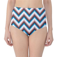 Zigzag Chevron Pattern Blue Magenta High Waist Bikini Bottoms by snowwhitegirl