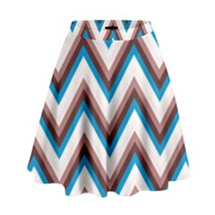 Zigzag Chevron Pattern Blue Magenta High Waist Skirt by snowwhitegirl