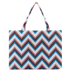 Zigzag Chevron Pattern Blue Magenta Zipper Medium Tote Bag by snowwhitegirl