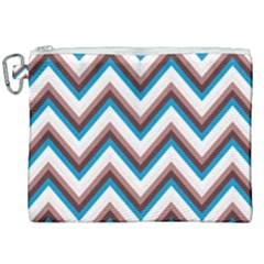 Zigzag Chevron Pattern Blue Magenta Canvas Cosmetic Bag (xxl) by snowwhitegirl