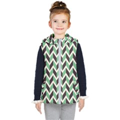 Zigzag Chevron Pattern Green Black Kid s Puffer Vest