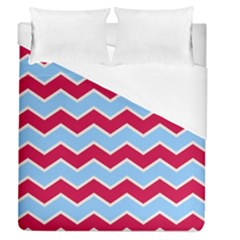 Zigzag Chevron Pattern Blue Red Duvet Cover (queen Size) by snowwhitegirl