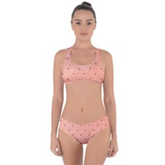Dot Peach Criss Cross Bikini Set by snowwhitegirl