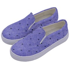 Dot Blue Kids  Canvas Slip Ons by snowwhitegirl