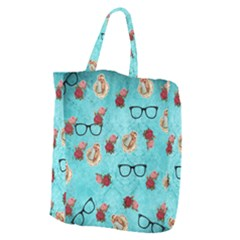 Vintage Glasses Blue Giant Grocery Zipper Tote