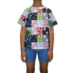 Dino Quilt Kids  Short Sleeve Swimwear