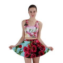 Roses Blue Mini Skirt