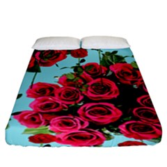Roses Blue Fitted Sheet (king Size) by snowwhitegirl